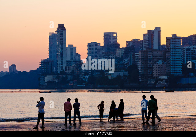 Bombay Mumbai Skyline on Chowpatty Beach - Stock Image