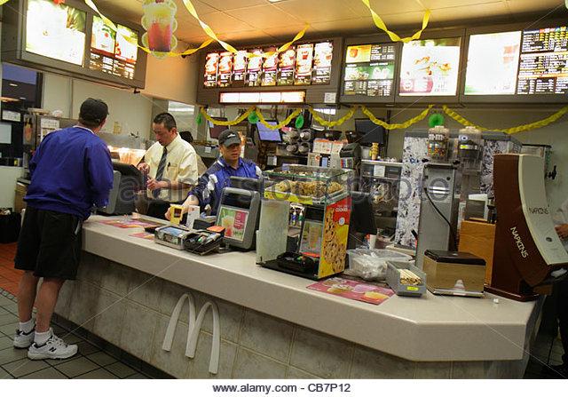 San Francisco California San Bruno McDonald's fast food restaurant dining business chain global company hamburgers - Stock Image