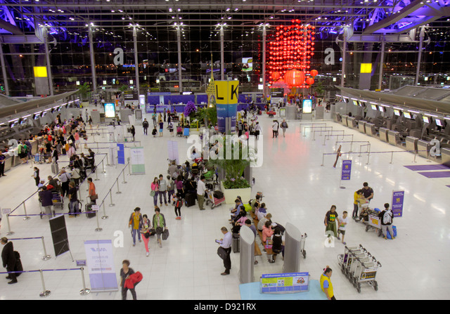 Bangkok Thailand Suvarnabhumi International Airport BKK terminal ticket counters check in - Stock Image