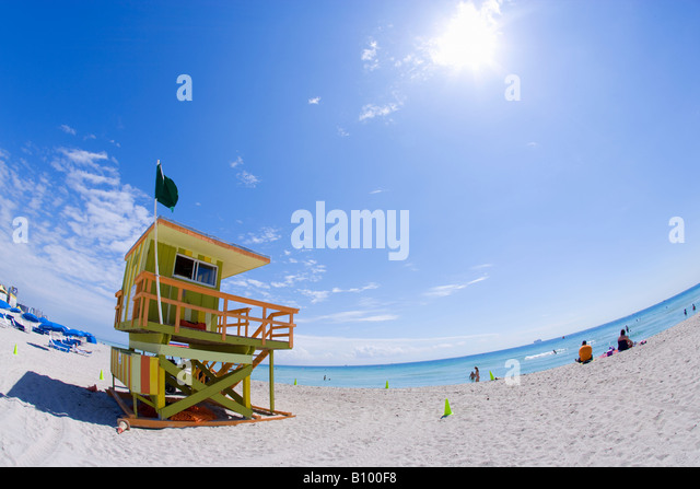 lifeguard tower, miami beach, south beach, miami, florida - Stock Image
