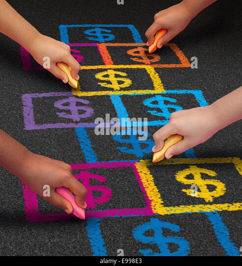 School financing and education business concept as a group of children drawing a hopscotch game on a floor with - Stock Image