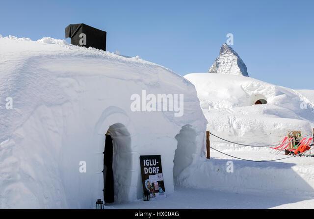 Igloo village, Rotenboden, Matterhorn, Zermatt, Gornergrat, Valais, Switzerland, Europe - Stock-Bilder