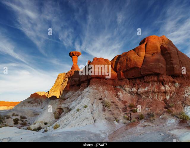 Toadstool Hoodoo amazing mushroom shaped rock in Utah desert, USA - Stock Image