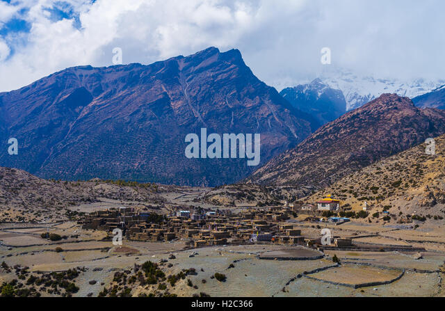 Landscape View Himalays Mountains Village.Asia Nature Morning Viewpoint.Mountain Trekking Photo.Horizontal picture. - Stock Image