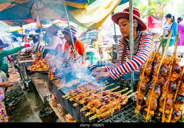 Food Market, Koh Chen, Cambodia - Stock Image