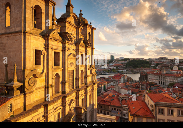 Evening light Igreja dos Grilos Ribeira Porto Portugal - Stock Image