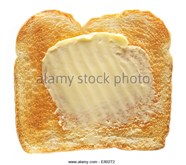 White Slice Toast Bread with butter - Stock Image