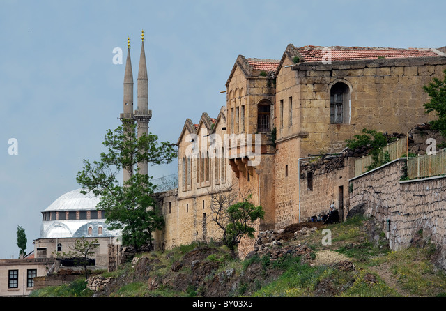 Historical Greek houses in Guzelyurt Aksaray Turkey - Stock Image
