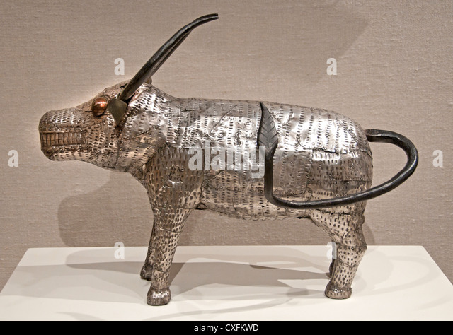 Buffalo 19th century  Republic of Benin City of Abomey Fon peoples Silver iron wood 30 cm Africa - Stock Image