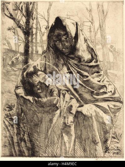Albert Besnard, French (1849-1934), A Martyr, 1883, etching - Stock-Bilder