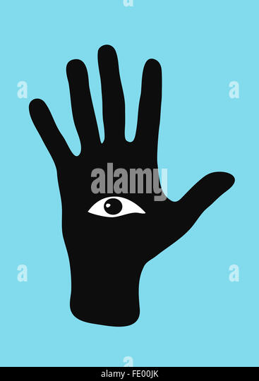 An eye in a hand looking at the viewer - Stock Image