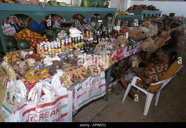 St. Lucia West Indies Castries Market spices produce vendor - Stock Image