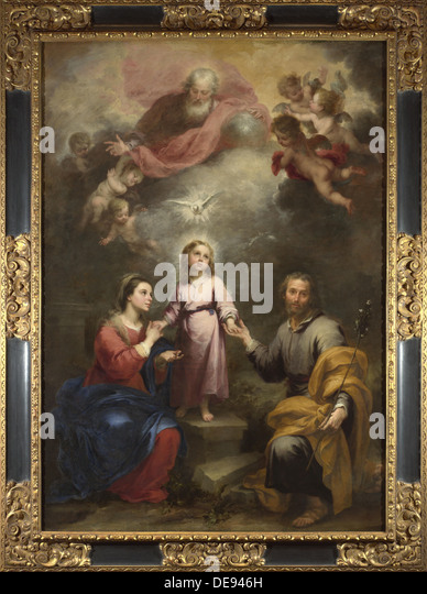 The Heavenly and Earthly Trinities (The Pedroso Murillo), c. 1680. Artist: Murillo, Bartolomé Estebàn - Stock Image