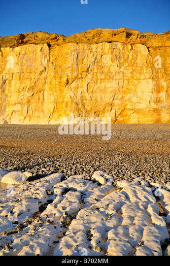 Sunset on the chalk cliff at Newhaven west beach East Sussex United Kingdom - Stock Image
