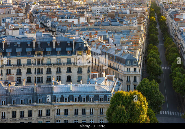 Aerial view of Paris 16th arrondissement with its haussmannian buildings, Paris rooftops and tree-lined Avenue Victor - Stock Image