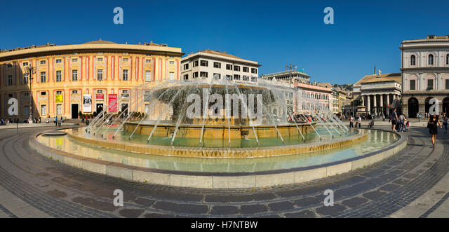 Fontana Piazza de Ferrari. Historic center, Old Twon. Genoa. Mediterranean Sea. Liguria, Italy Europe - Stock Image