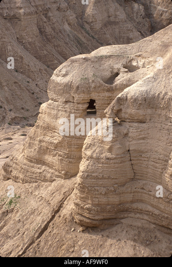 Israel Judean Desert Qumran Caves Dead Sea Scrolls found here bible - Stock Image