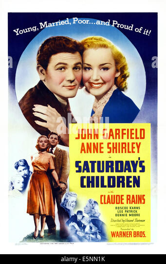 SATURDAY'S CHILDREN, US poster art, from left: John Garfield, Anne Shirley, 1940 - Stock Image