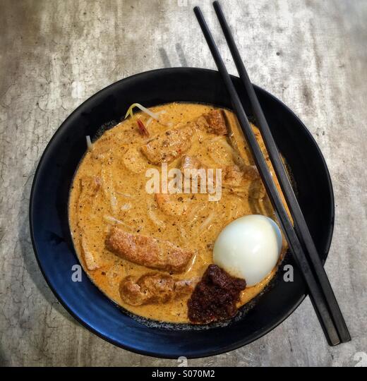 Singapore Laksa noodle soup - Stock Image