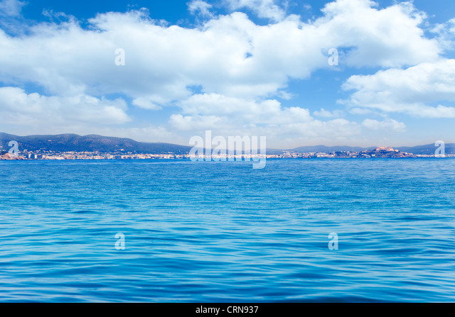 Balearic Ibiza island general view from open sea in Mediterranean spain - Stock Image