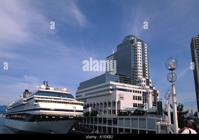 Vancouver Canada Cruise Ship Docked at Canada Place - Stock Image