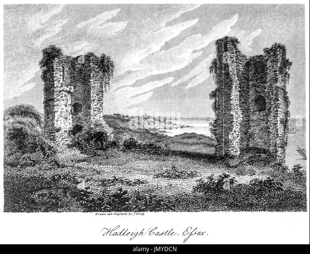 An engraving of Hadleigh Castle, Essex scanned at high resolution from a book printed in 1808.  Believed copyright - Stock Image