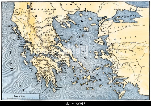 Map of ancient Greece and its colonies - Stock Image