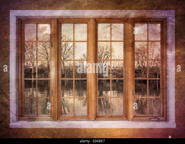 Window on fall - Stock Image