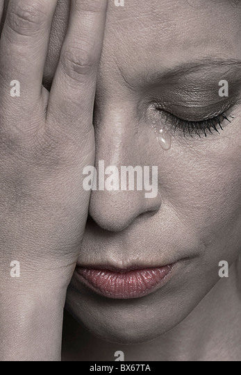 Crying woman - Stock Image