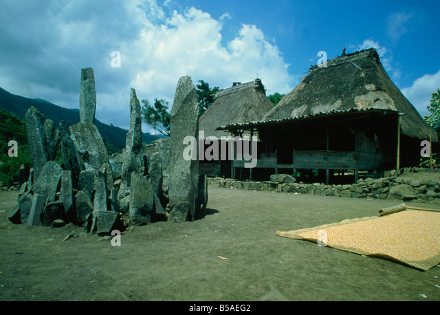Megaliths at Bena, a traditional Ngada village near Bajawa in central Flores, Timor, Southeast Asia - Stock Image