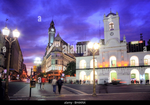 "National Cabildo Facade at ""Plaza de Mayo"" (May Square) at dusk, Buenos Aires, Argentina - Stock Image"
