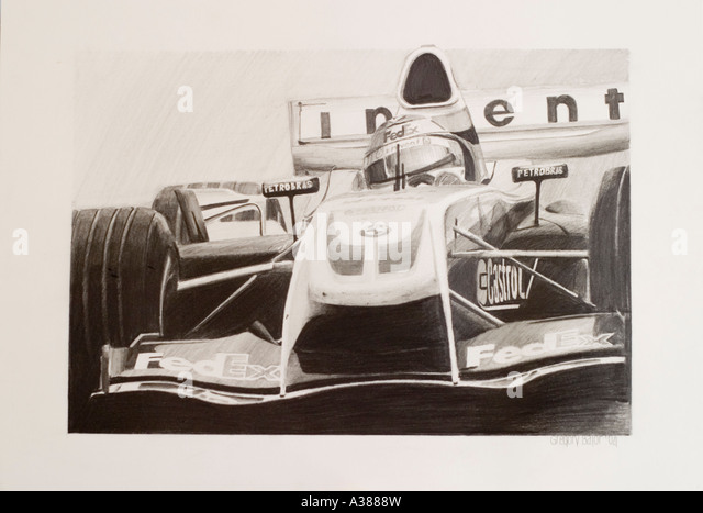 Ralf Schumacher in Williams F1 BMW FW26 2004 pencil drawing on paper - Stock Image