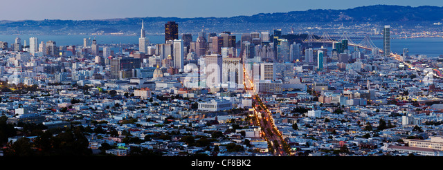 City skyline viewed from Twin Peaks, San Francisco, California, United States of America - Stock Image