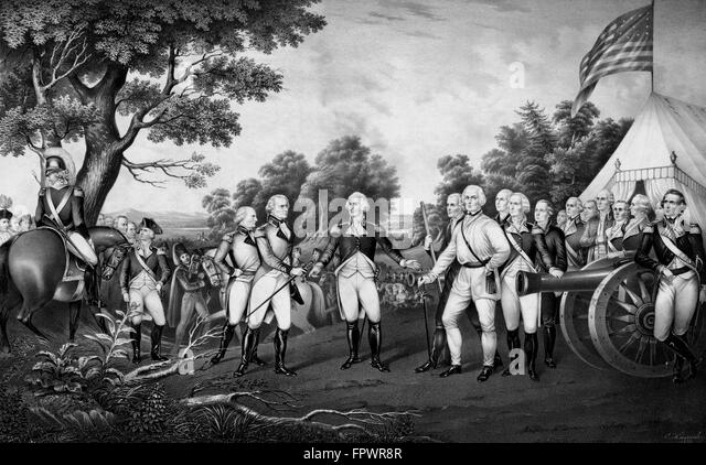 Revolutionary War Print showing the surrender of British General John Burgoyne at Saratoga, on October 17, 1777. - Stock Image