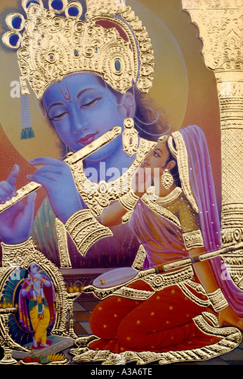 Krishna Playing Flute - Stock Image