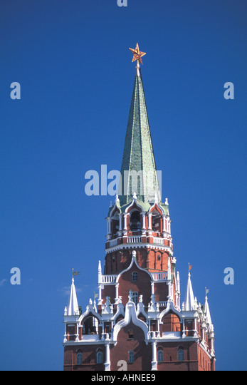 Moscow Russia Kremlin Tower Trinity Tower with red star - Stock Image