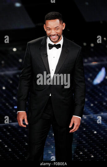 SANREMO, ITALY - FEBRUARY 14: Actor Will Smith guest on the stage of the 65th Sanremo Song Festival at the Ariston - Stock Image