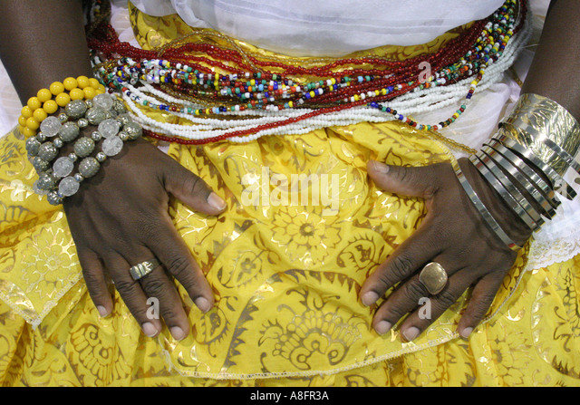 Miami Beach Florida Convention Center Fispal Latino Latin Food Fair Afro American female Bahia Brazil costume - Stock Image