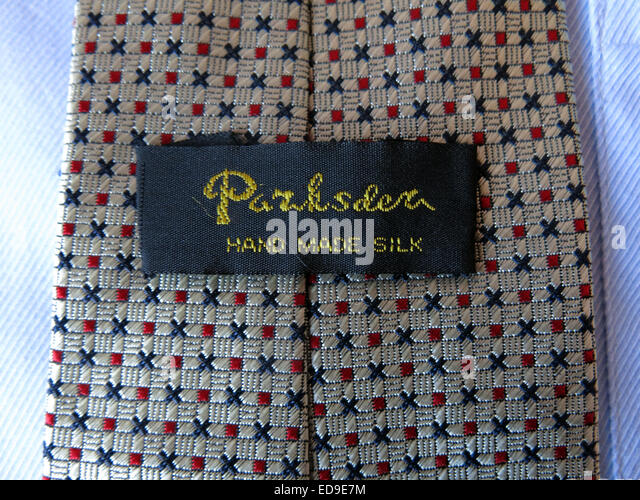 Interesting vintage Parksder  tie, male neckware in silk - Stock Image