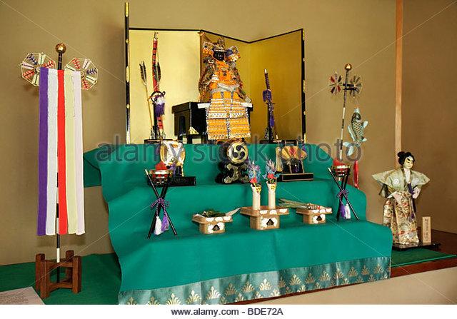 Saginaw Michigan Japanese Cultural Center & and Tea House art heritage display exhibit artifacts symbolism - Stock Image