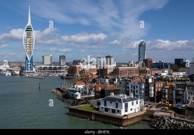 The harbor area and Spinnaker Tower in the city of Portsmouth on the south coast of England in the United Kingdom. - Stock Image
