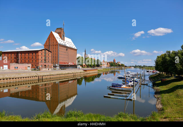 Harbour and storage building, Tangermünde, Saxony-Anhalt, Germany - Stock Image