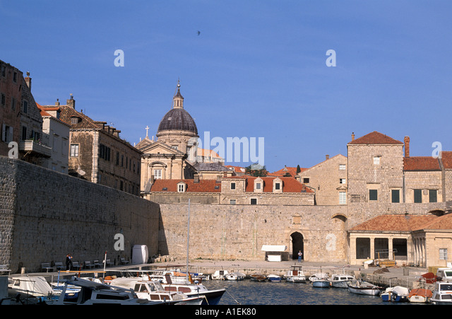 Dubrovnik Croatia Old Town Walled City Harbor with boats - Stock Image