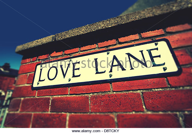 love lane sign on wall - Stock Image