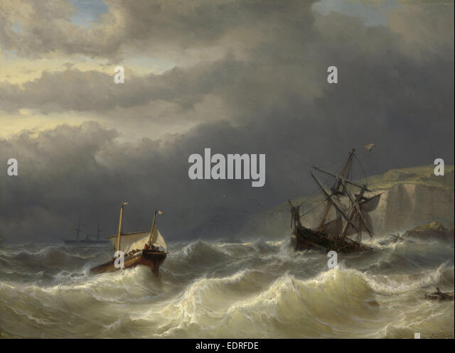 Storm in the Strait of Dover, Louis Meijer, 1819 - 1866 - Stock Image