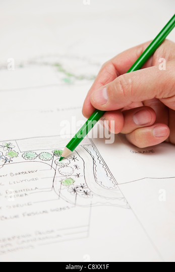 USA, Illinois, Metamora, Close-up on hand drawing garden plan - Stock Image