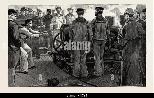 THE GUNNERY TRIALS OF THE LATEST IRONCLAD H.M.S. 'VICTORIA', 1889: FIRING 6-INCH 5-TON GUNS IN FORE STARBOARD - Stock Image