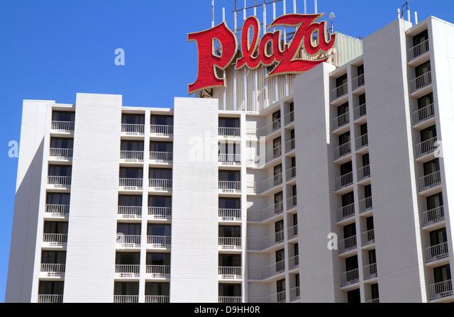 Nevada Las Vegas Downtown Plaza Hotel & Casino hotel neon sign balconies - Stock Image