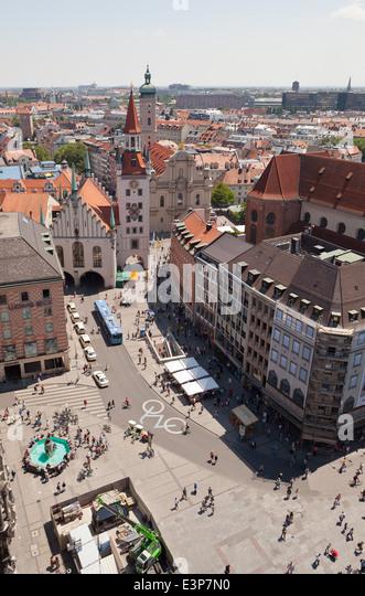 Munich, Marienplatz aerial view - Munich, Bavaria, Germany, Europe - Stock Image