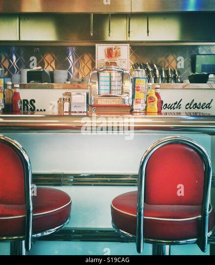 The interior of an American Diner - Stock Image
